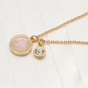 "Kate Spade ""Spot the Spade"" Pink/Gold Necklace"